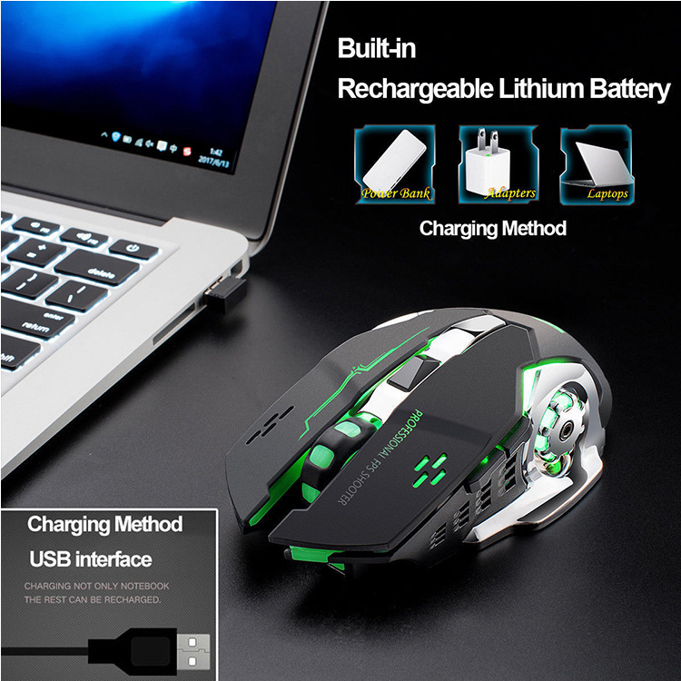 Drop ship Rechargeable Wireless Silent LED Backlit USB Optical Ergonomic Gaming Mouse LOL Gaming Mouse Surfing Wireless Mouse 3