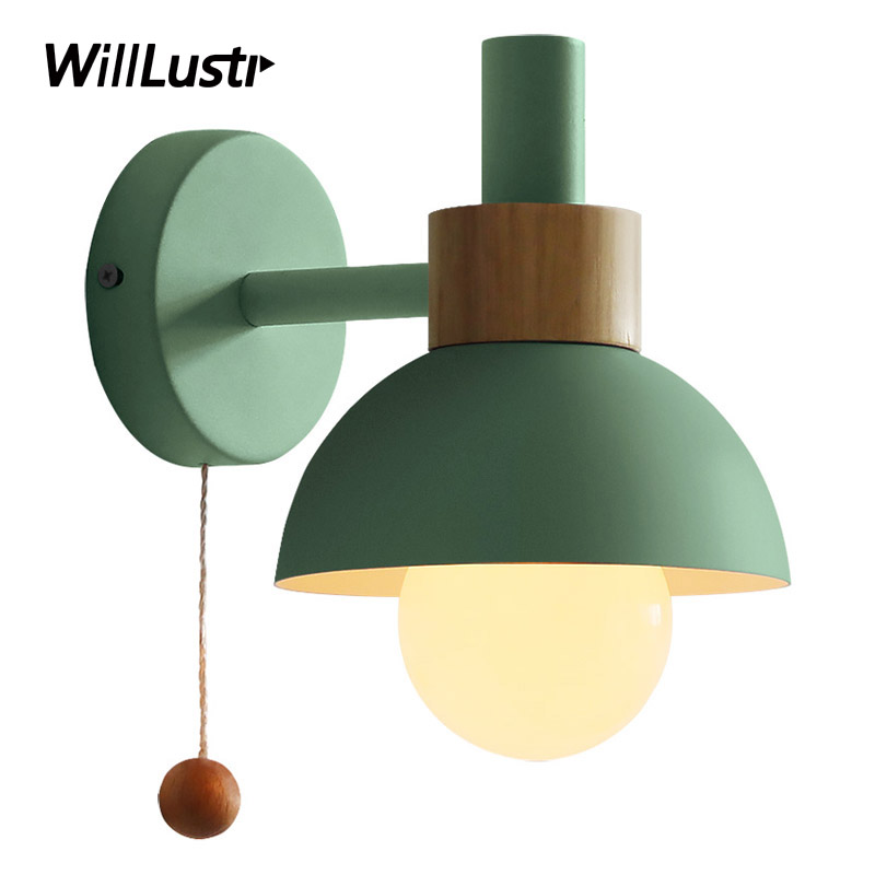 <font><b>Nordic</b></font> Macaron <font><b>Wall</b></font> <font><b>Lamp</b></font> Iron <font><b>Wood</b></font> Torch Sconce Hotel Restaurant Porch Corridor Bedside Vanity Light Pink Green Yellow Lighting image