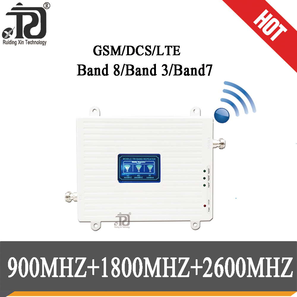 2G 3G 4G Tri Band Repeater GSM 900(B8)+DCS LTE 1800(B3)+FDD LTE 2600(B7) Cellphone Signal Booster 900 1800 2600 Signal Amplifier