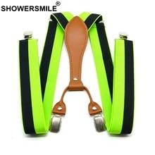 SHOWERSMILE Stripe Suspenders Men Fashion Green Trouser Belts 3.5cm Elastic Pants Straps 4 Clips Suspenders Male Yellow Red Blue