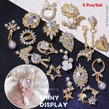 5 pçs liga zircão decoração da arte do prego strass para a arte do prego jóias cristal manicure zircão diamante encantos