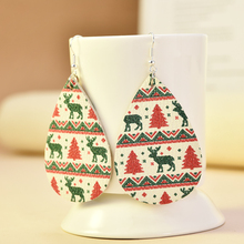 2019 New Fashion Chic Christmas Elk Socks Teardrop PU Leather Bohemia Dangle Drop Earrings  Boho Long Earrings