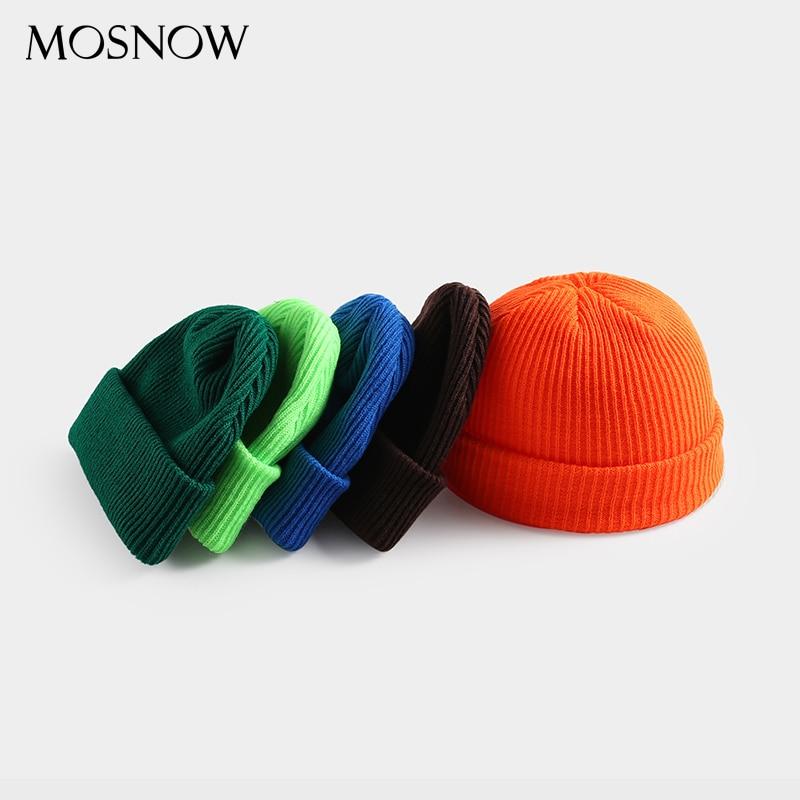 Hat Warm Skullcap Beanie Winter Knitted Autumn Wide Short Elastic-Caps Women Wool Unisex