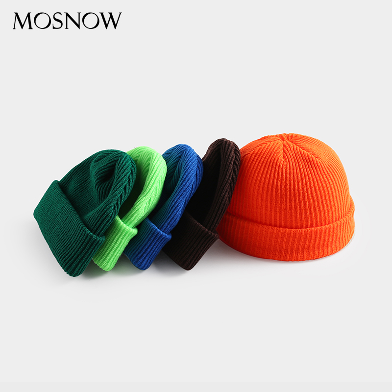 Unisex Skullcap Beanie Winter Hat Warm Knitted Casual Short Wide Hip Hop Hat Adult Men Women Wool Knitted Autumn Elastic Caps