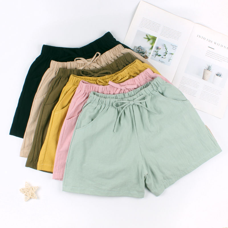 Summer Shorts Women Cotton Linen Shorts Trousers feminino Women's Elastic Wasit Home Loose Casual Shorts plus size with Pocket