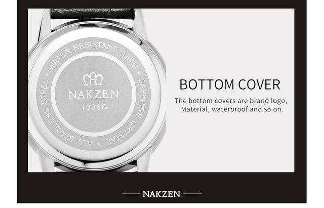Nakzen Роскошные Кварцевые часы Для мужчин кожаные Наручные