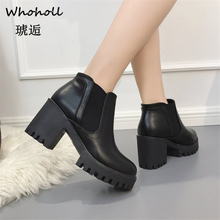 Whoholl 2019 New Fashion Spring Autumn Platform Ankle Boots Women Thick Heel Lady Worker Black Big Size 40