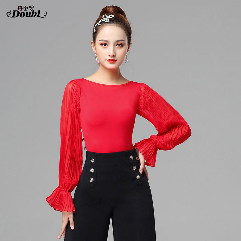 Excellent Quality Latin Dance Tops Female Sexy Performance Dancing Shirt Ballroom Cha Cha Samba Practice Dance Clothes