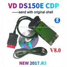 DHL10pcs/הרבה VD DS150E CDP חדש vci obd2 obdii אבחון כלי 2017R3 סדק bluetooth סורק כלי רכב משאית VD TCS CDP פרו בתוספת