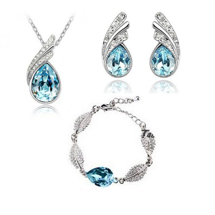 QiLeSen Fine jewelry 925 sterling silver suitable for ladies set, Best selling crystal sea blue Necklace bracelet Earring Set YW