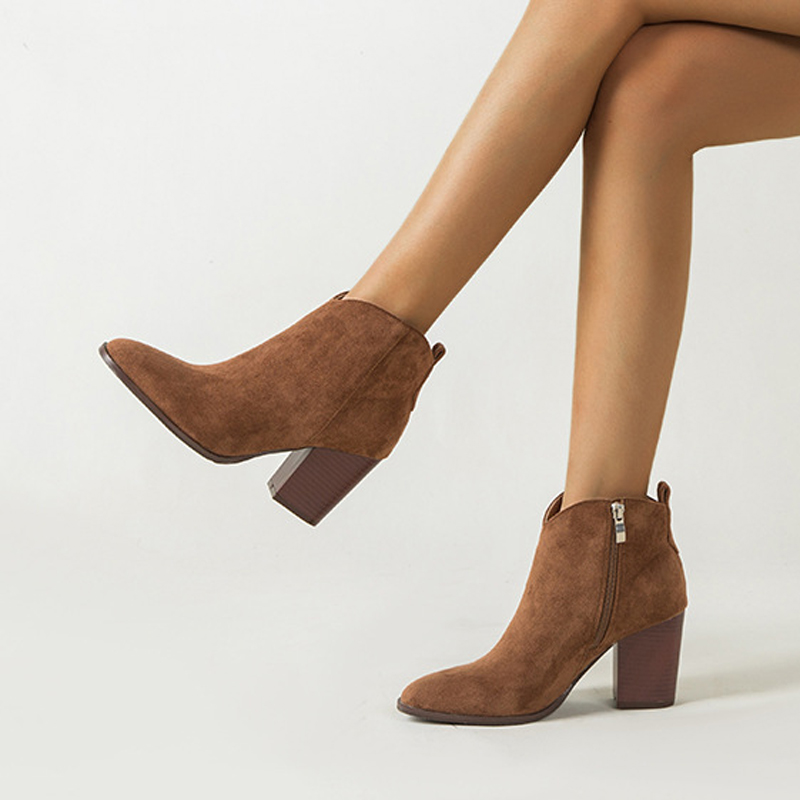 Women/'s Booties Mid Calf High Block Heels Square Toe Side Zip Short Ankle Shoes