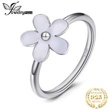 Jewelrypalace אלגנטי דייזי לבן אמייל 925 כסף סטרלינג טבעת אביב פרח מתנת יום נישואים נשים תכשיטים חדש