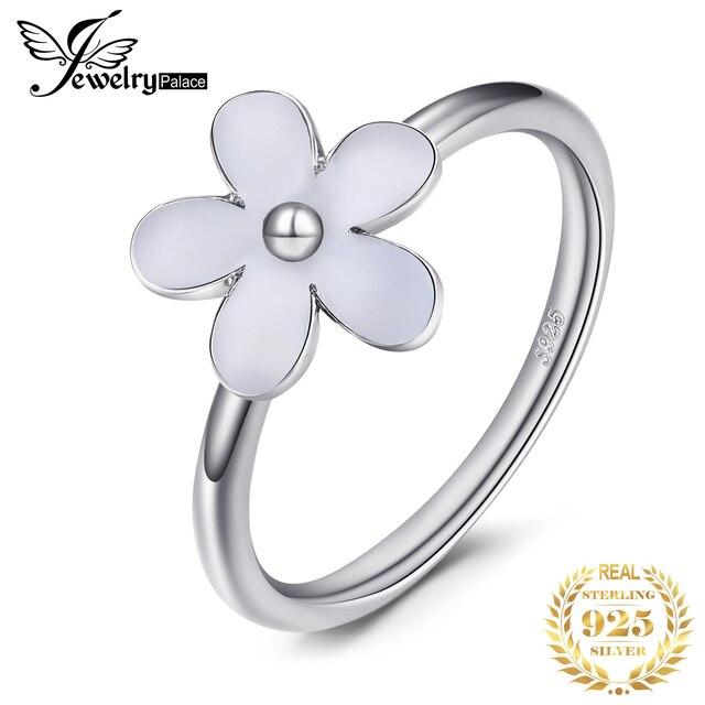 Jewelrypalace Elegante Daisy Weiß Emaille 925 Sterling Silber Ring Frühling Blumen Jahrestag Geschenk Frauen Mode Schmuck Neue