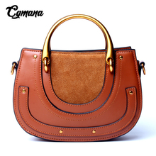 Designer Bags Famous Brand Women Bags 2019 Ladies Genuine Leather Handbag Retro Saddle Bag Real Leather Round Bag Shoulder Bags