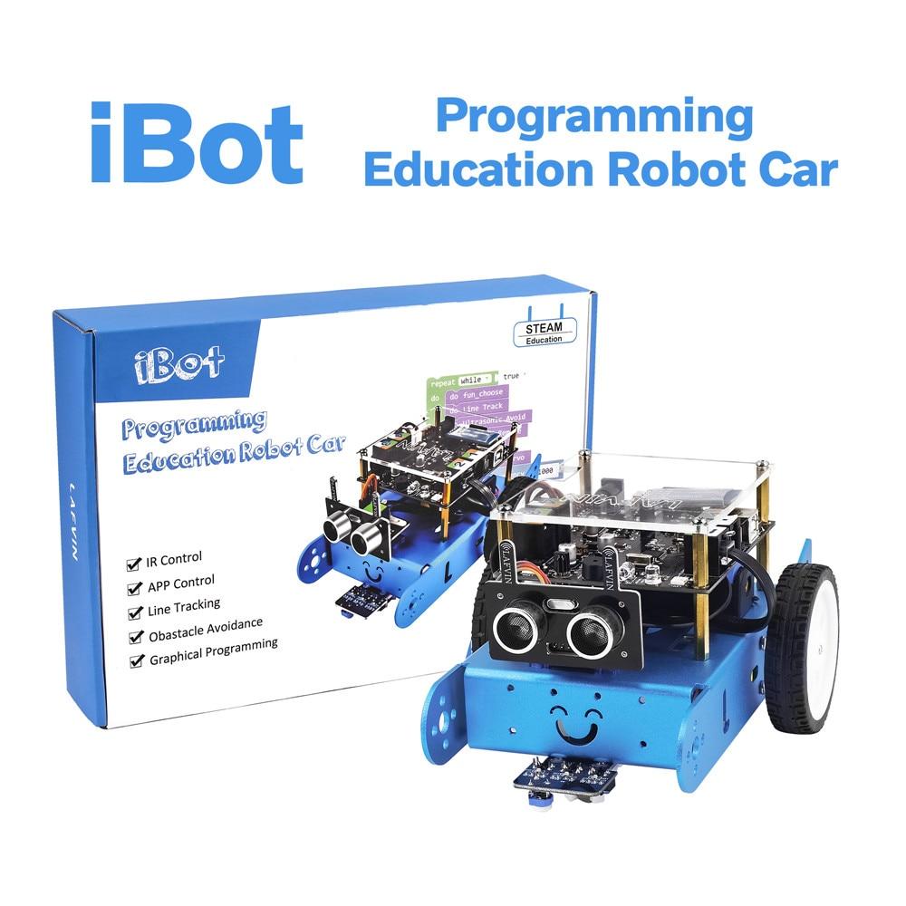 2020 Новинка! Программируемый Обучающий робот LAFVIN IBOT, автомобильный комплект для графического программирования Arduino с руководством пользова...