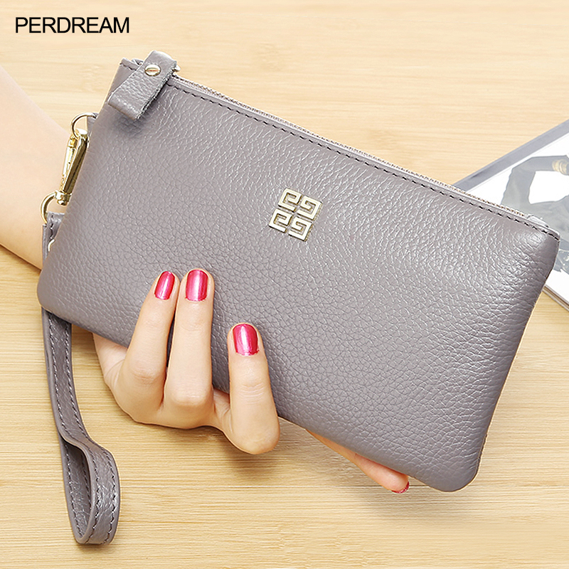 Head Leather 2019 New Women's Zipper European And American Long Money Wallet Leather Handbag Tide