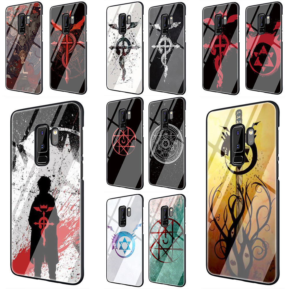 EWAU Fullmetal Alchemist Brotherhood Glass Phone Case for Samsung Galaxy S7 8 9 10Plus Note8 9 A10 20 <font><b>30</b></font> <font><b>40</b></font> <font><b>50</b></font> <font><b>60</b></font> <font><b>70</b></font> image