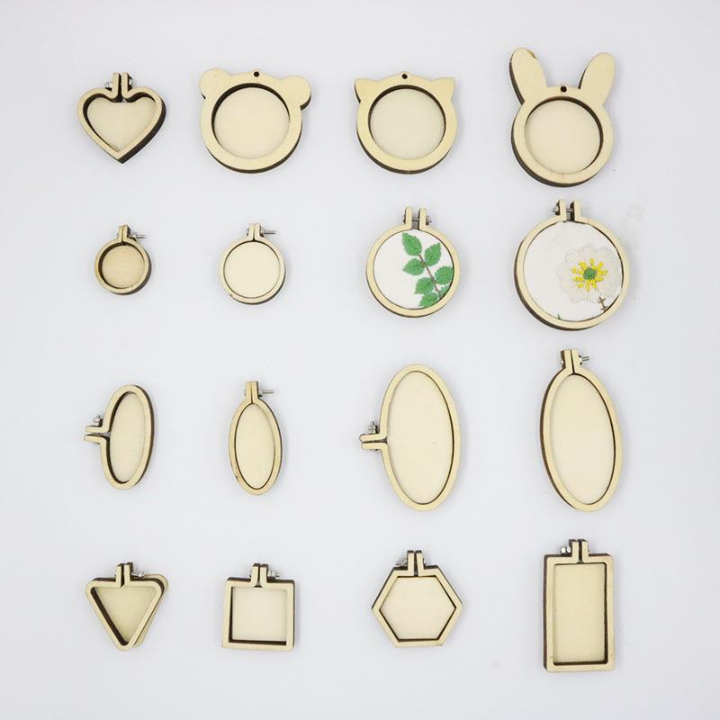 Mini Wooden Embroidery Hoop Ring Cross Stitch Frame Handmade Pendant Crafts Embroidery Circle Sewing Kit DIY Craft Gift Tool