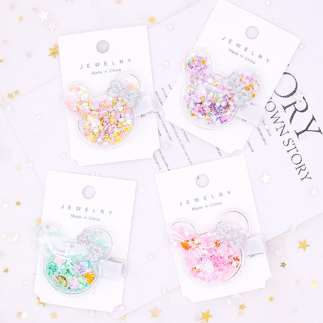 Oaoleer Hair Accessories Jelly Bows for Girls Sequins Transparent Hair Bows Crown Beads Hairgrips Side Clips Baby Hair Clips 1