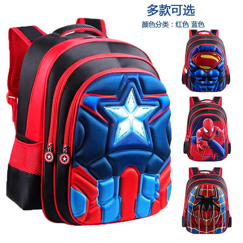 Disney Spiderman Primary Schoolbag Children's School Bag Kindergarten Cartoon American Captain Boy School Bag Backpack