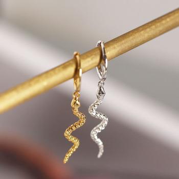 925 Sterling srebrne kolczyki koła dla kobiet mężczyzn wąż zwierząt złoto srebro ucha biżuteria prezenty S-E1386 tanie i dobre opinie anenjery CN (pochodzenie) SILVER 925 sterling NONE Zewnętrzna ocena Drobne Kobiety TRENDY Kolczyki w kształcie kółek