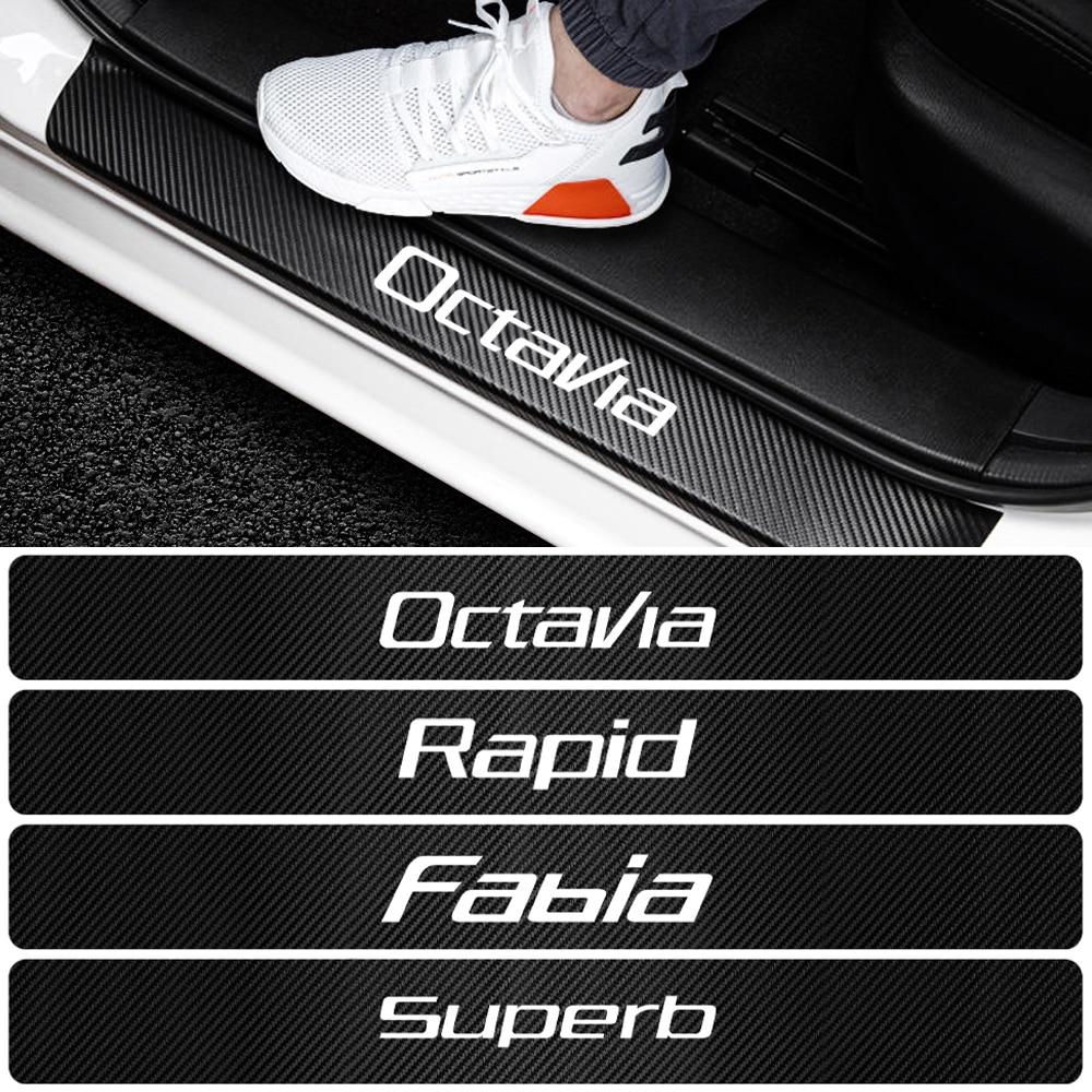 Для Skoda Octavia A5 A7 Fabia Superb Rapid Kodiaq Kamiq аксессуары для автомобиля-Стайлинг 4D углеродное волокно виниловые дверные наклейки на пороги