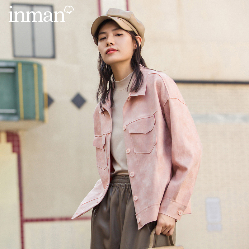 INMAN Winter Literary Retro Lapel Printing And Dyeing Dropped Shoulder Sleeve Loose Short Coat