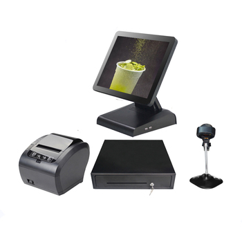 15'' Flat Capacitive Touch Screen windows Pos Terminal With Receipt Printer scanner cash drawer Pos Machine