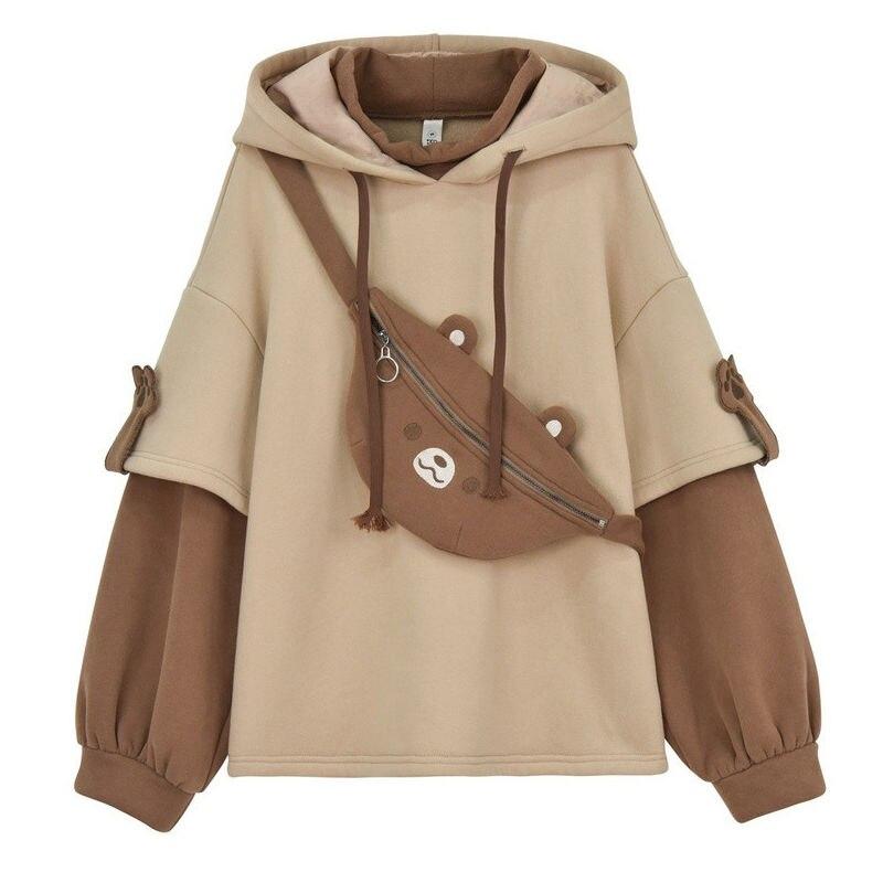 Frohe Ziemlich harajuku bär mit kapuze sweatshirt frauen koreanische kawaii langarm übergroße pullover süße warme winter pulovers