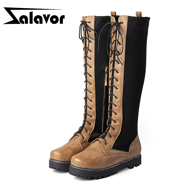 ZALAVOR Fur Shoes Long-Boots Pointed-Toe Winter Plus-Size Woman Comfortable Warm Knee