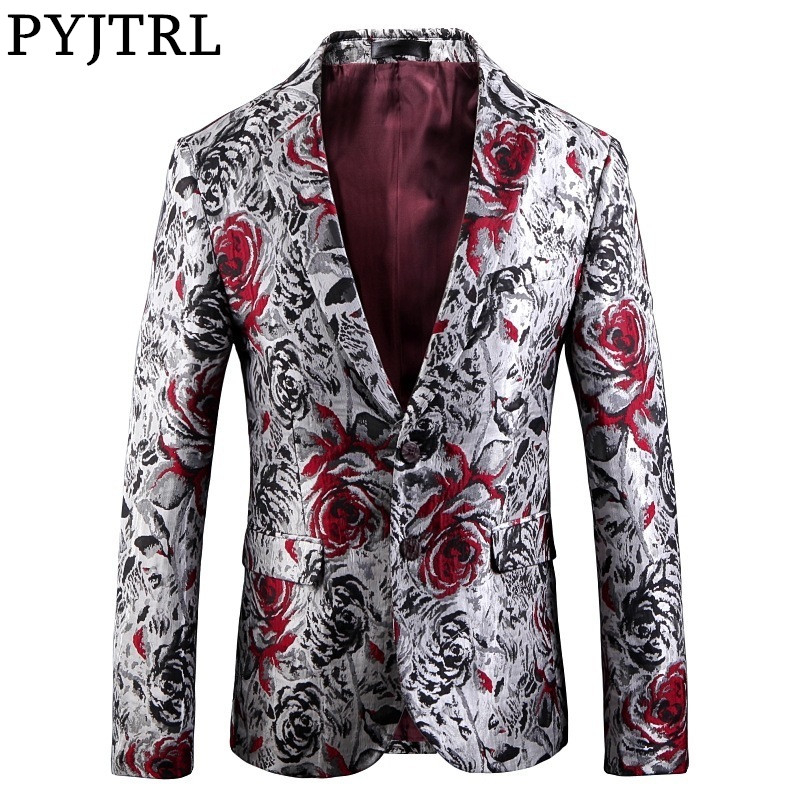 PYJTRL Mens Fashion Jacquard Rose Floral Pattern Casual Blazer Hombre Wedding Groom Party Stage Costumes Slim Fit Suit Jacket