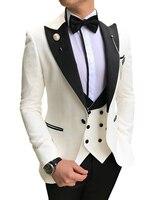 White Mens Suits 3 piece Slim Fit Business Notched Lapel V Neck Tuxedos Groomsmen Men Suits for Wedding (Jacket+Pants+Vest)