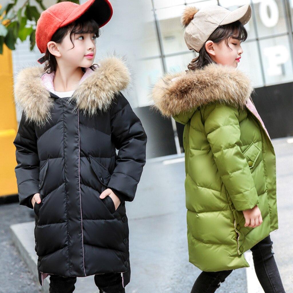 Russie hiver filles manteau hiver canard vers le bas enfants épaississement chaud vers le bas vestes longue grande fourrure vêtements d'extérieur à capuche manteaux enfants vers le bas