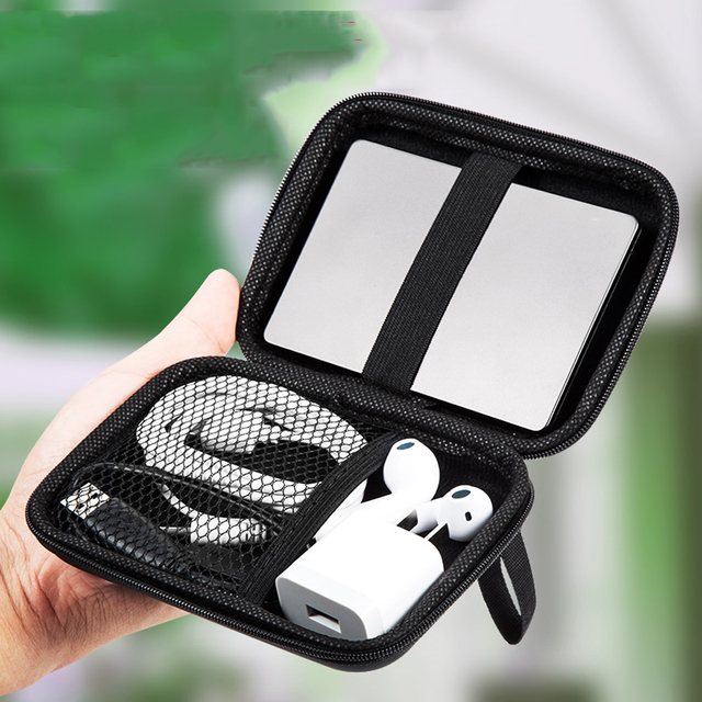 Portable USB Cable Storage Organizer Bag Waterproof Shockproof Pouch For Earphones Power Bank External Portable Protection Bag 3