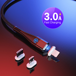 1m 2m Led Fast Charging Micro Usb Charger Magnetic Cable for Samsung Huawei Xiaomi Android Microusb Charger Date Cable Cord