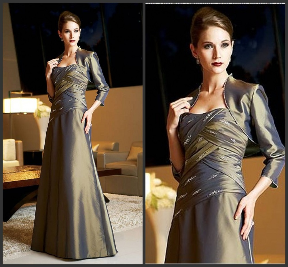 Long A-line Mother Of The Bride Dresses With Jacket For Weddings Beading Taffeta Floor-Length Three Quarter Sleeves Elegant 2015