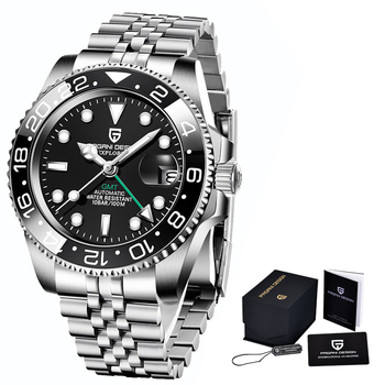 2020 New PAGANI DESIGN Luxury Men GMT Automatic Machinery Watch 40MM Ceramic bezel Jubilee Strap Sapphire 100M Waterproof Clock - Black