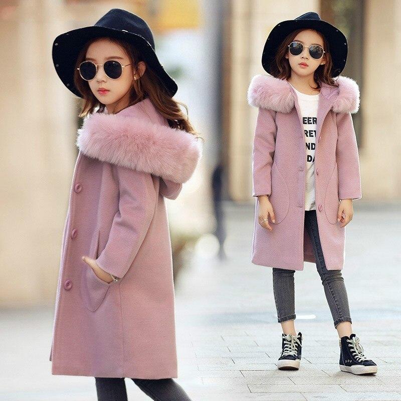 2019 nuevas niñas de manga larga con capucha ropa cortavientos primavera Otoño Invierno ropa abrigo de lana niños chaqueta boda prendas de vestir parka