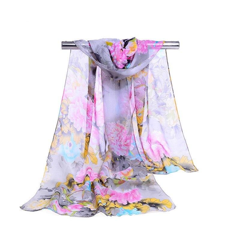 160*50cm New Fashion Print Chiffon Striped Scarf Wild Fashion Shawl Sunscreen Flower Floral Scarf Scarves