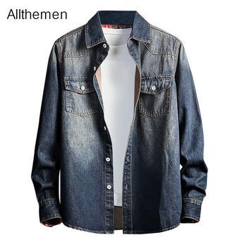 Allthemen Men Blue Jean Shirt Men Denim Shirt Streetwear Casual Long Sleeve Shirt  Camiseta Masculina Fashion Design Clothing men figure print patched denim shirt