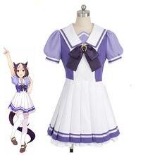 Anime uma musume bonito derby cosplay traje feminino jk uniforme vestido jogo semana especial tokai teio verão roupas de festa meia