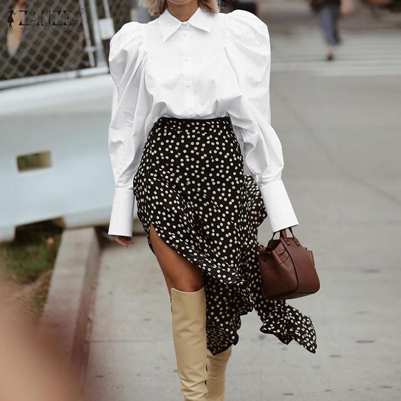 Fashion ZANZEA Elegant Lapel Neck OL Shirt Women Puff Sleeve Blouse Femininas Buttons Down Top Chemise Vintage Solid Blusas 7