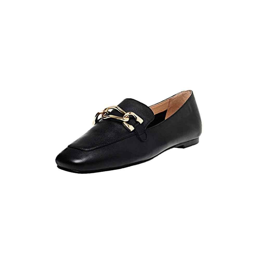 Krazing Pot 2020 yeni temel katı hakiki deri kayma kare ayak rahat kadın daire metal bağlantı elemanları bahar ayakkabı L99