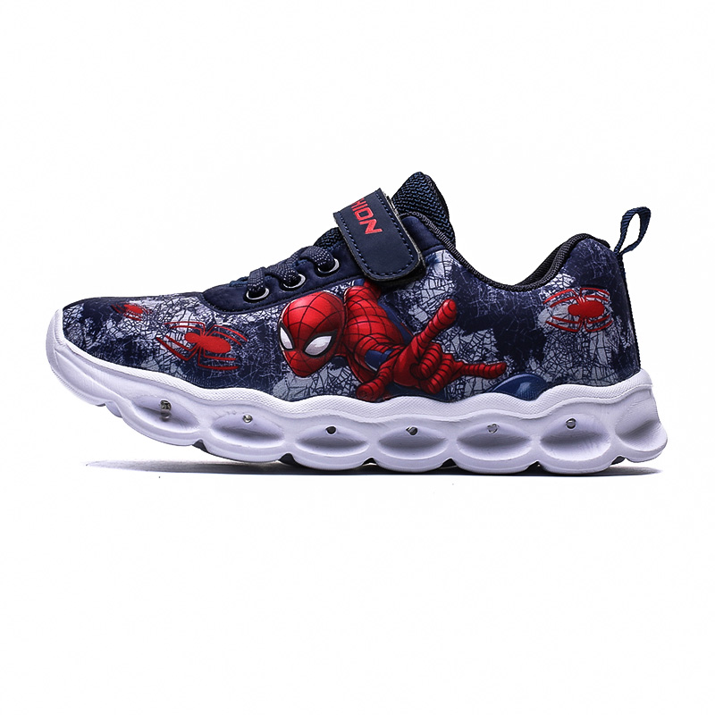 2020 Boys Led Shoes Girls Cartoon Light up Luminous Sneakers Glowing Illuminated Spiderman Running  Shoes for Kids 4