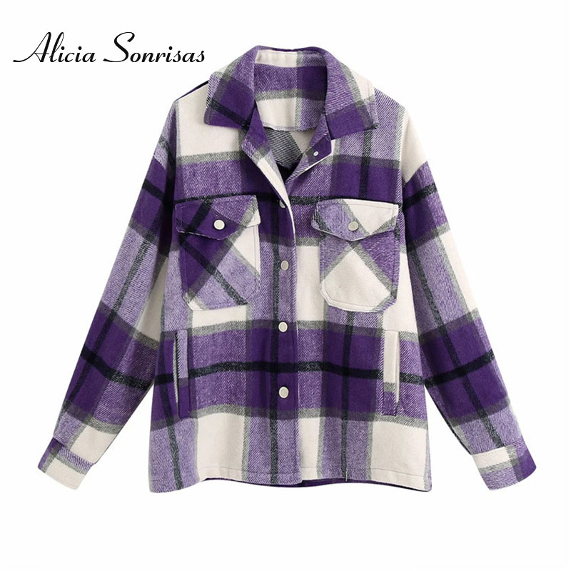 2020 Spring Autumn Women Plaid Wool Blouse Gothic Checked Oversized Woolen Shirt Thick Ladies Vintage Chic Top Blusas