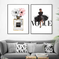 Fashion Black Dress Canvas Poster Nordic Wall Art Perfume with Flower Print Painting Decoration Picture Home Decor Framed