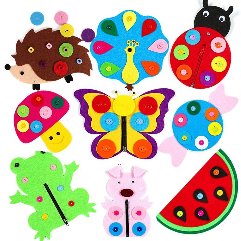 New 1PC Hand Zipper Button Teaching Kindergarten Manual Diy Weave Cloth Early Education Toys Montessori Teaching Aids Math Toys