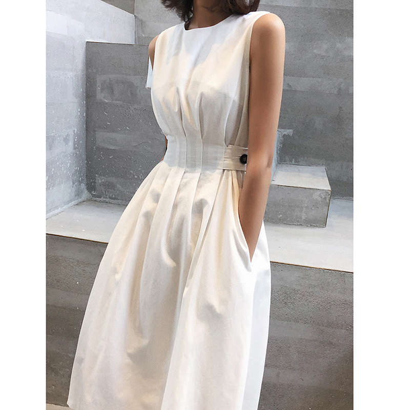Vintage Women Fashion Dress Solid Color Black White Sleeveless Fold Elegant Evening Party Dresse Casual Ofiice Lady Midi Dresses