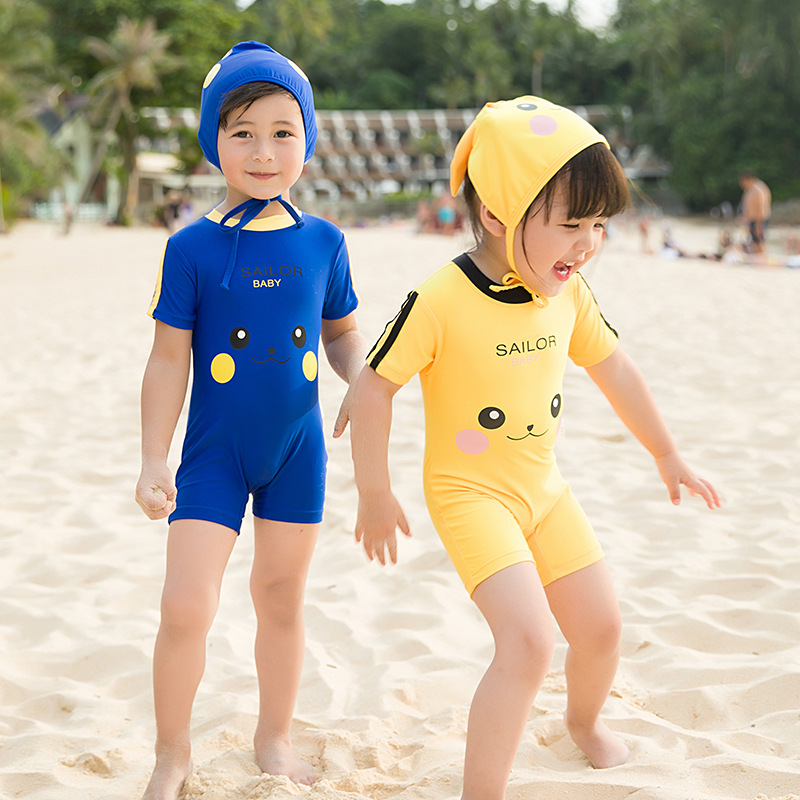Men And Women Children Hooded Bathing Suit Men And Women Baby Pikachu Swimwear Children One-piece Swimming Suit Cartoon Spa Reso