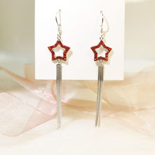 925 Sterling Silver Earrings Five-pointed Star Tassels Ear Nail Micro Insert Red Drill Hollo Eardrop Stud Earring Brand Jewelry(China)